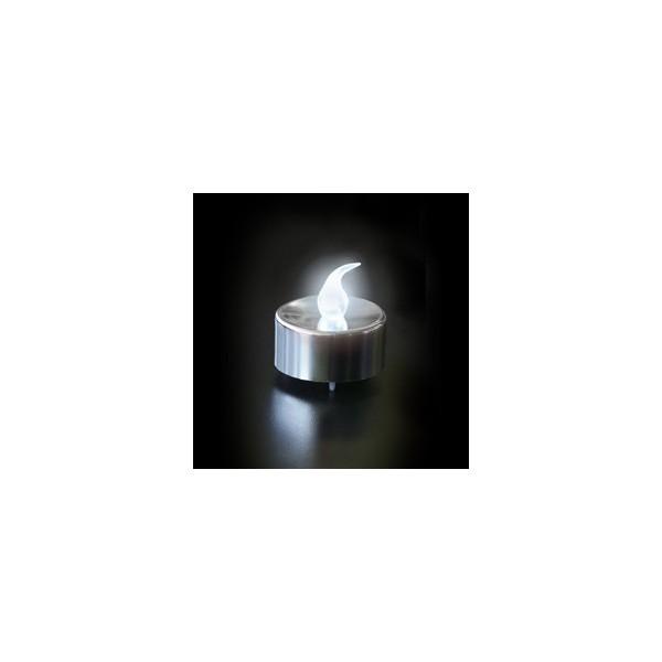 bougie a led metallisee argentee led blanche. Black Bedroom Furniture Sets. Home Design Ideas