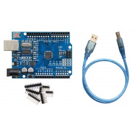 Carte UNO R3 compatible ARDUINO ATmega328P + CH340G+cable USB+connecteur