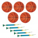 Lot de 5 Mini Ballons de BASKET BALL - 110mm + 5 pompes